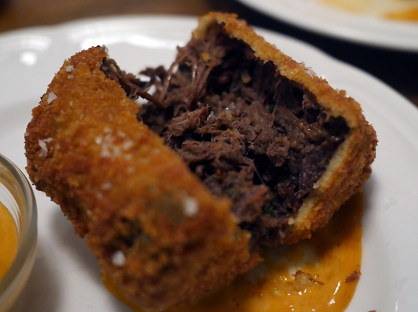 inside chopped brisket croquette at little smoke