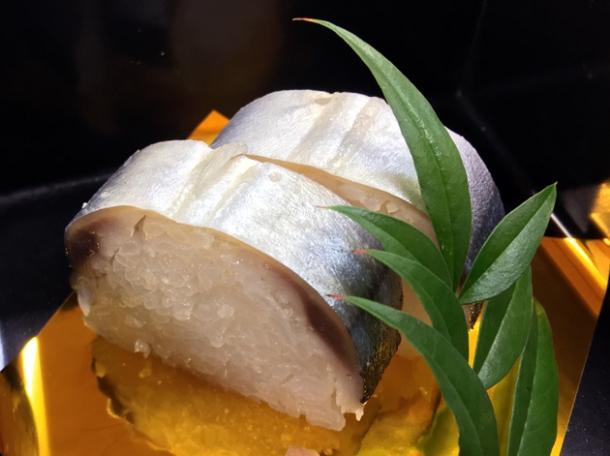 mackerel on sushi rice at ryokan adumaya