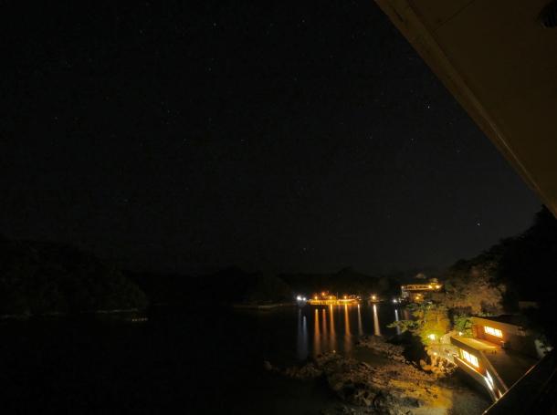hotel nakanoshima wakayama onsen rotenburo night