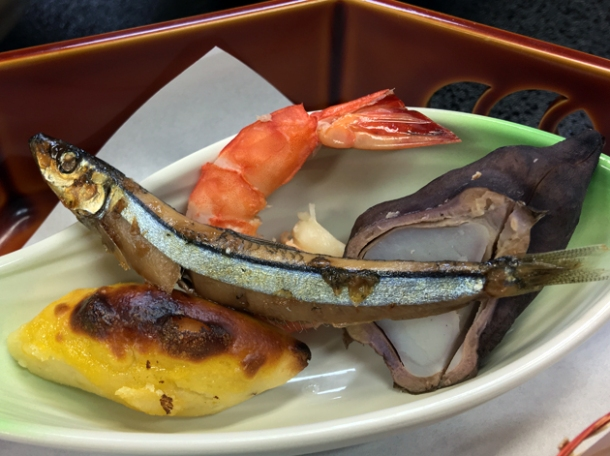 prawn and saury at ryokan adumaya