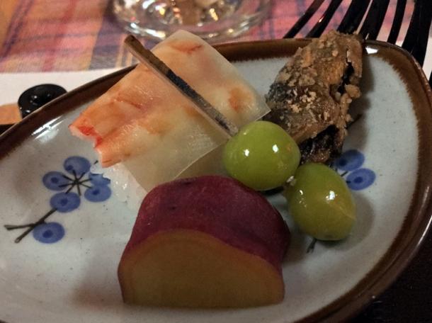 prawn nigiri fried fish gingko nut and fruit at minshuku tsugizakura