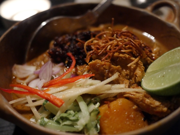 curried chicken noodles at farang