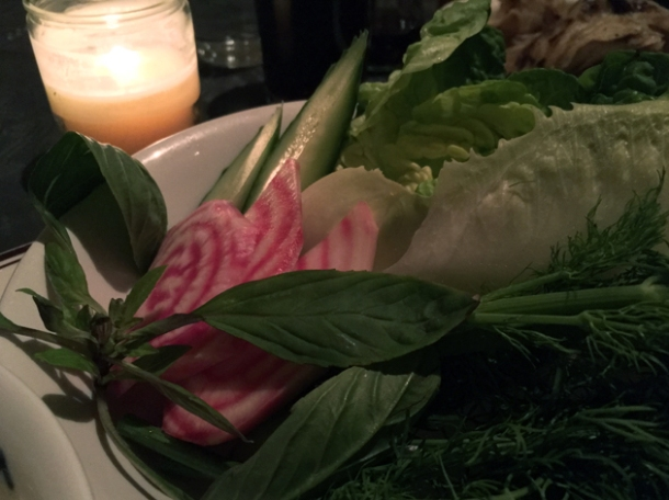 pork belly and lobster lon vegetables at farang highbury
