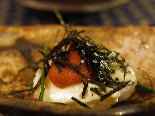 camembert and spicy cod roe at jugemu