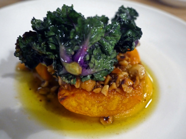 pumpkin, sprouting kale and hazelnuts at lyle's