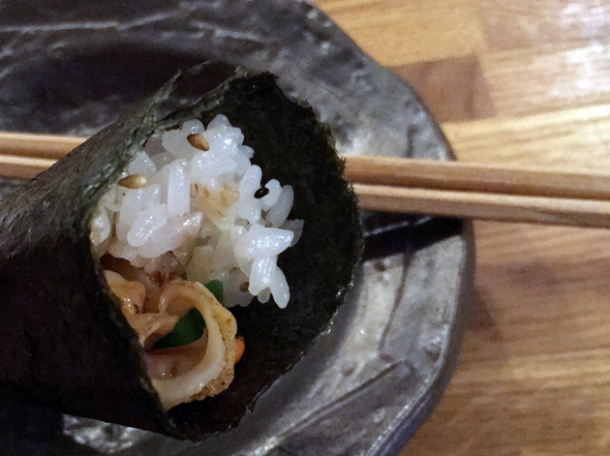 scallop and avocado temaki hand roll at jugemu