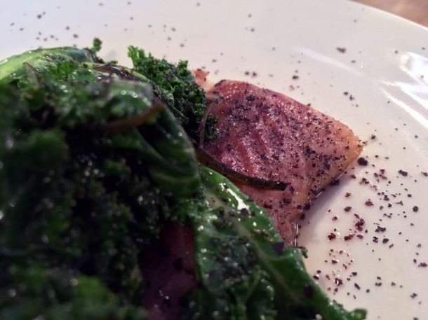 smoked eel and kale at lyle's