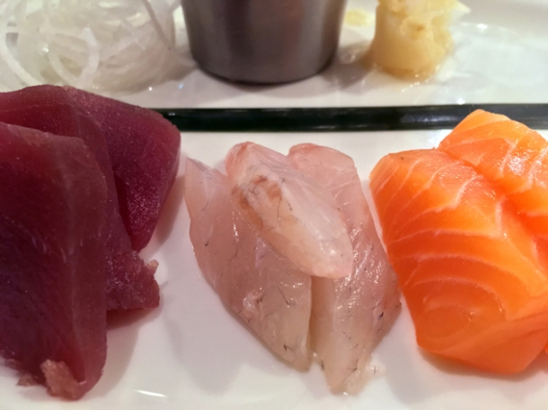 tuna, sea bass and salmon sashimi at rick stein barnes