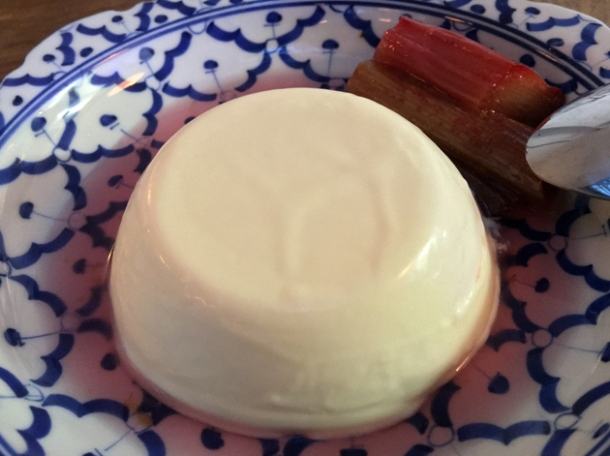 buttermilk panna cotta with rhubarb at sparrow