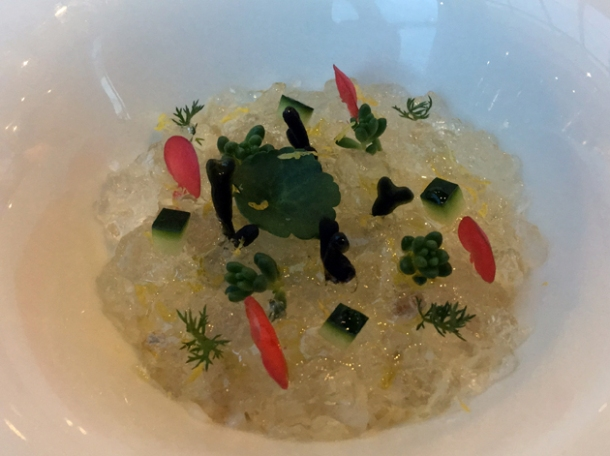 crab with elderflower and herbs at claude bosi bibendum