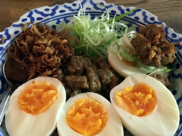 hard boiled eggs with duck and anchovy relish and shallots at sparrow