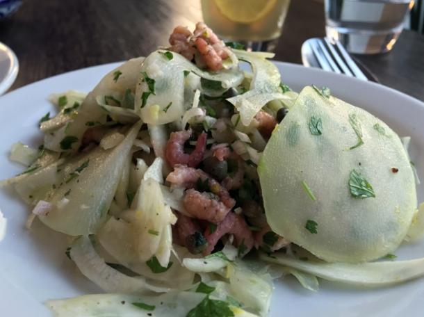 shrimp and kohlrabi salad at sparrow lewisham