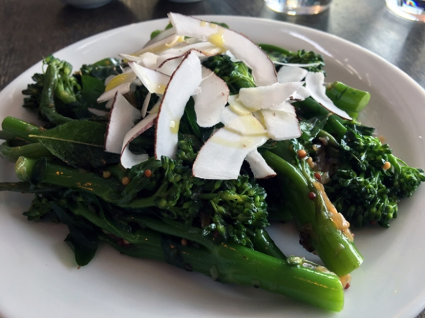 sprouting broccoli and coconut salad at sparrow