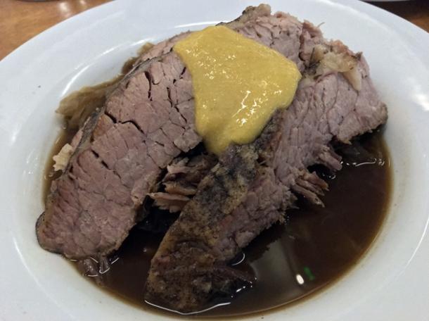 braised beef brisket at monty's deli