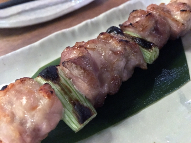 chicken and spring onion yakitori at shoryu kingly court