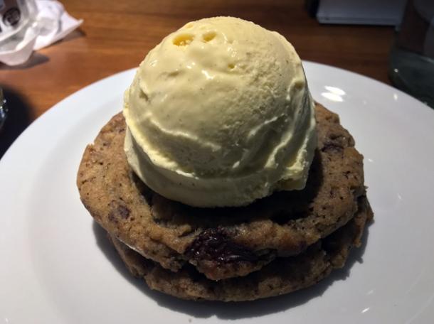 cookie and ice cream at monty's deli