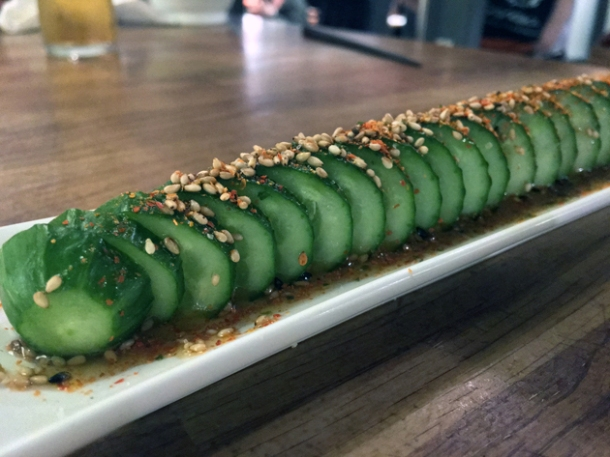 cucumber in chilli sesame oil at shoryu kingly court
