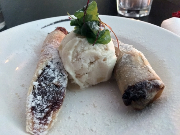 date pancakes with ginger ice cream at madame d