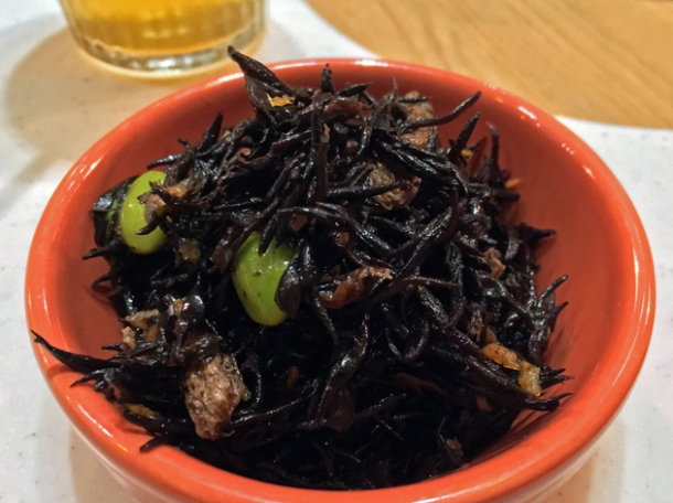 hijiki seaweed, edamamae and tofu salad at yamagoya