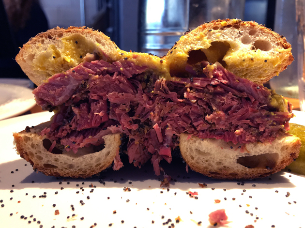 pastrami bagel at monty's deli