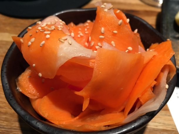 pickled carrots and daikon at tonkotsu bankside