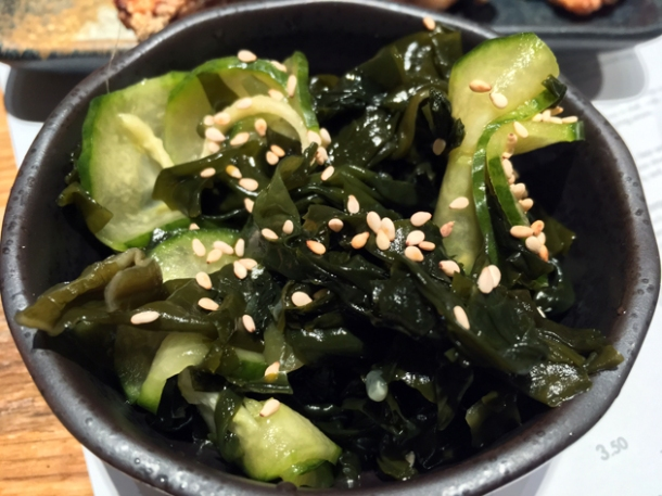 pickled cucumbers and wakame at tonkotsu bankside