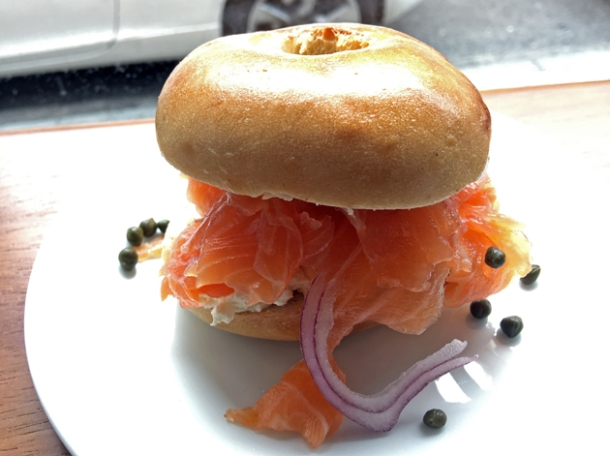 smoked salmon bagel at monty's deli