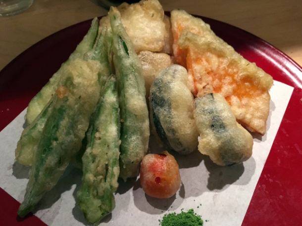 vegetable and monkfish tempura at okan ramen brixton