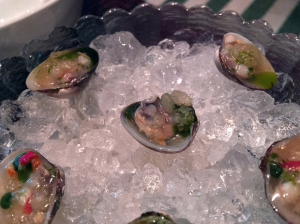 chilled clams at xu london