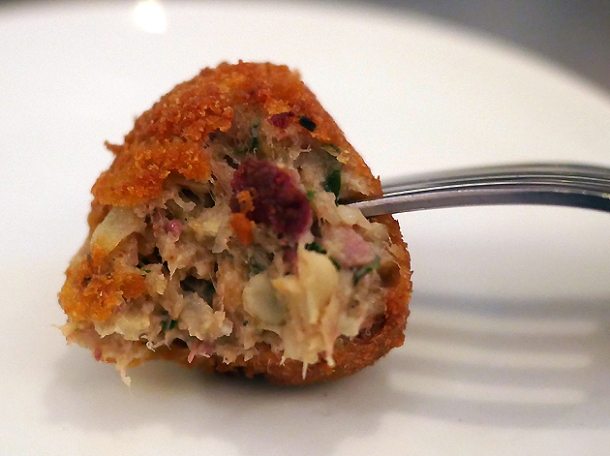deep fried pork boudin ball at plaquemine lock london