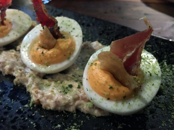 devilled eggs with duck salami at red rooster the curtain
