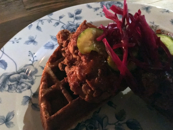 fried chicken and waffles at red rooster the curtain