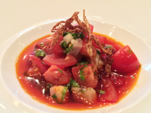 smoked eel and tomato at xu london