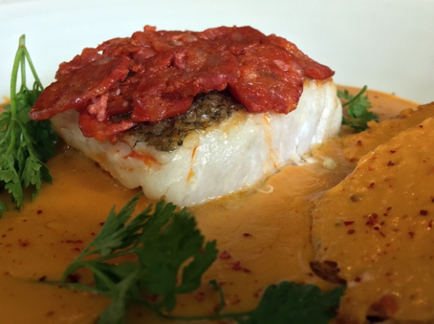 hake with chorizo in crab bisque at the wigmore