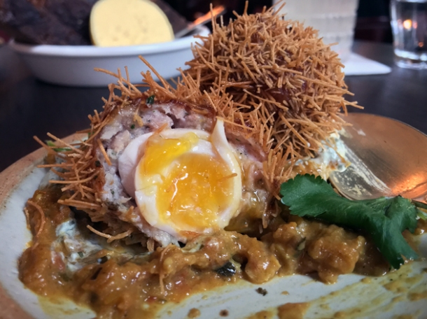 masala-spiced scotch egg at the wigmore
