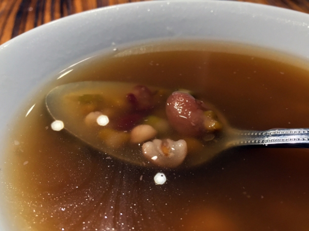 mixed beans, taro and pearls in longan tea at old tree daiwan bee