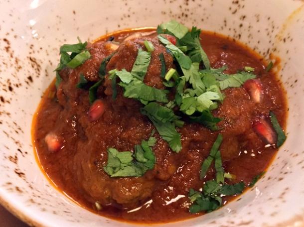 venison koftas in tomato sauce at darjeeling express