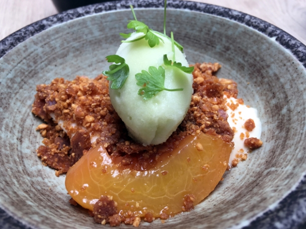 caramelised yogurt panna cotta with peach, peanuts and celery sorbet at magpie
