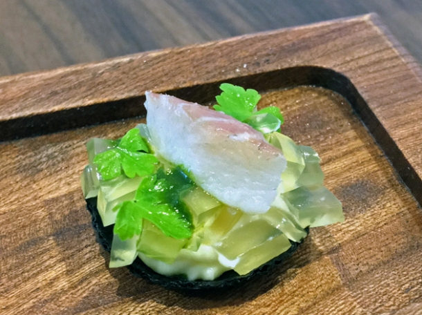 jellied eel amuse bouche at core by clare smyth