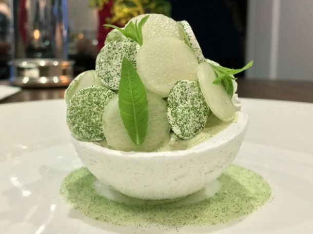 pear sorbet in meringue at core by clare smyth