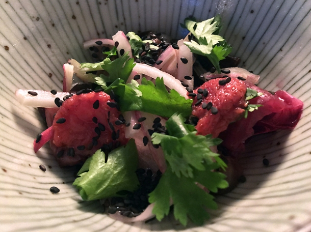 pickled strawberry salad at magpie