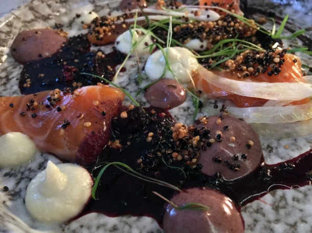 salmon and blackberry crudo at magpie