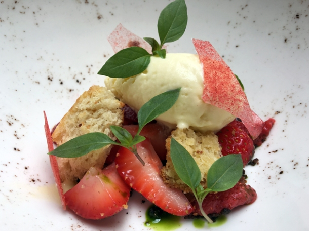 strawberry panzanella at magpie