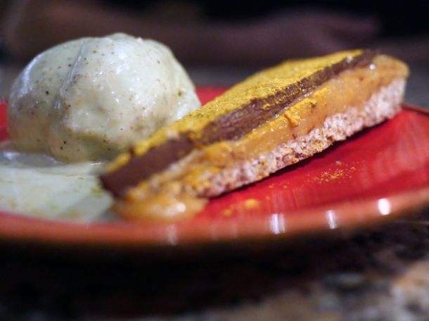chocolate and turmeric tart with pistachio ice cream at temper city