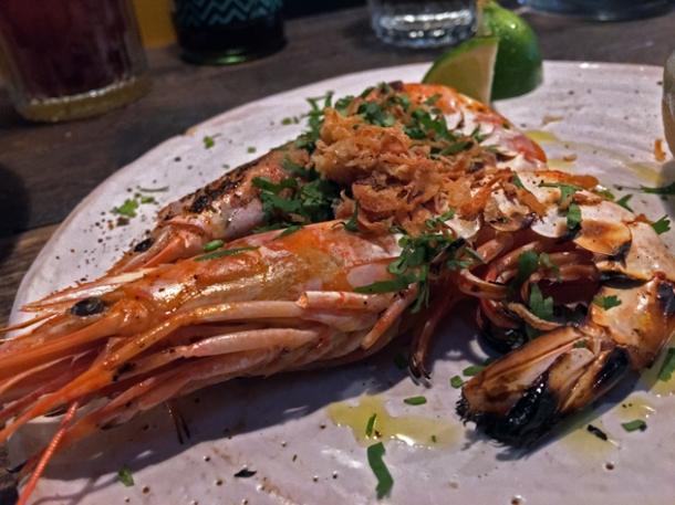 prawns at breddos tacos soho