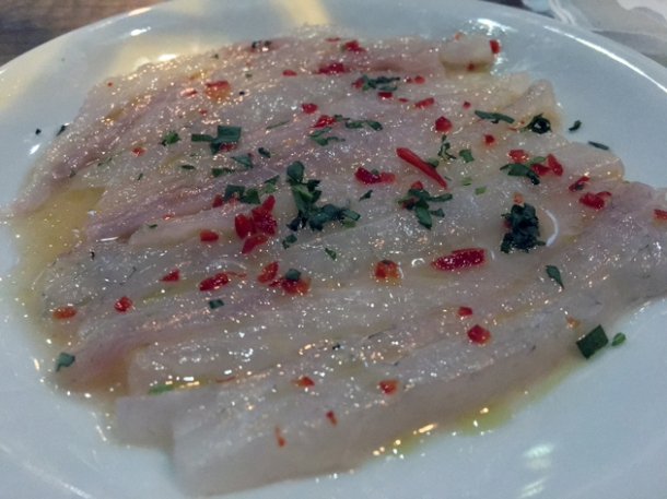 sea bass crudo at gilly's fry bar