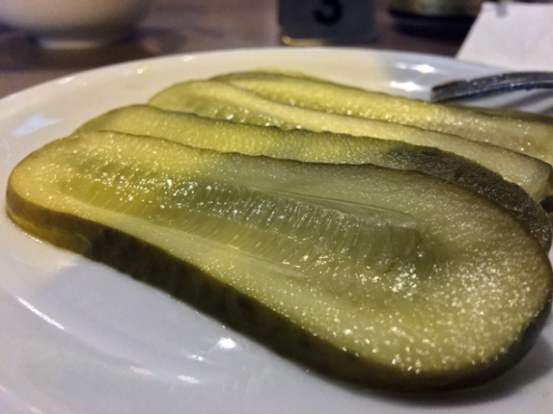sliced pickles at gilly's fry bar