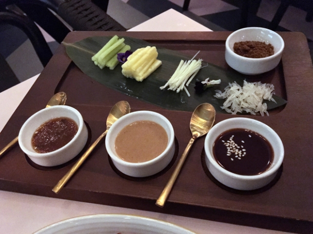 peking roast duck sauces and garnishes at duddell's london bridge