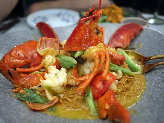 lobster noodles at duddell's london bridge