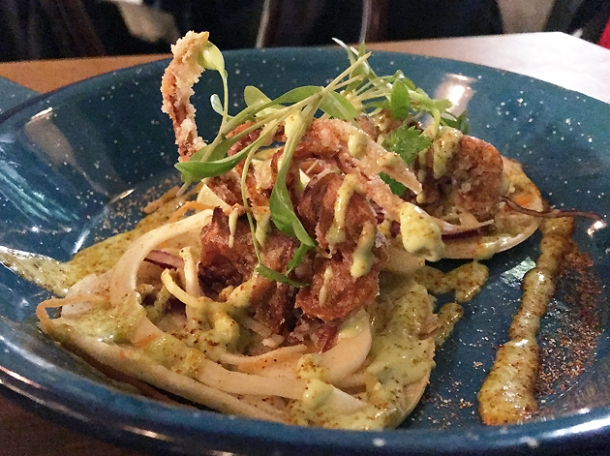 soft shell crab tacos at santo remedio london bridge